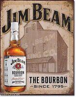 JIM BEAM BOURBON WHISKEY, DISTILLERY, LARGE METAL WALL SIGN 41X31cm PUB/BAR/DEN