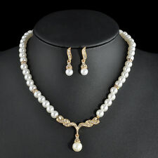 Luxury Women Silver/Gold Plated Crystal Bridal Jewelry Set Necklace Earring Set