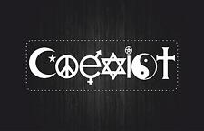 sticker decal car laptop macbook bumper room coexist white religious symbol bike
