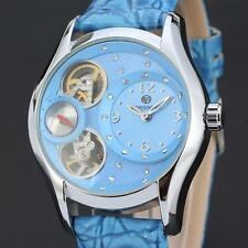 Luxury Tourbillon Skeleton Automatic Mechanical Blue Leather Women's Wrist Watch