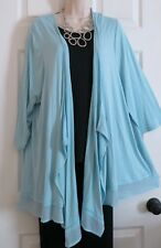 NEW Cascading Open Front Chiffon Hem Jkt Top Lane Bryant Plus 26/28 (3X/4X) BLUE
