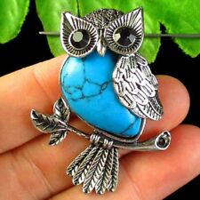 Blue Turquoise Wrapped Tibetan Silver Owl Pendant Bead S38082