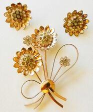 Coro Craft Pegasus~Sterling Vermeil Rhinestone Flower Bouquet Demi Parure-38 g