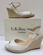 """NEW was £195! LK BENNETT EU41/UK8 'SEVE' OFF WHITE LEATHER 4"""" WEDGE -ANKLE STRAP"""