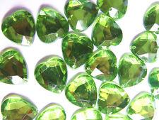 40 Lime Green Love Heart Beads Acrylic Rhinestones/Gems 16 mm Flat Back 2 Hole