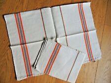 Antique 2 French tea Towels Linen Metis VINTAGE orange stripe Country kitchen
