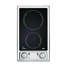 Summit Cr2B120: 2-burner 120V electric cooktop with smooth black ceramic glass