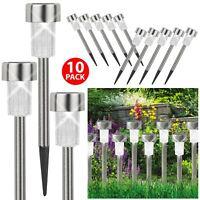 10 x Solar Powered Post Lights LED Stainless Steel Outdoor Lighting Garden Patio