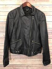 Forever 21 Womens Faux Leather Jacket Size Large Solid Black Biker Rocker Moto
