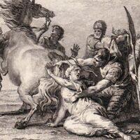 Gravure XVIIIe Brunehaut Supplice 613 Brunehilde Francs Wisigoth Herpon Clotaire