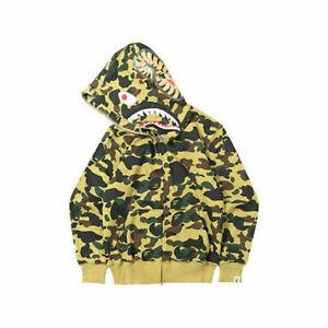 Long Sleeve Men Shark Head Sweater Full Zip Camouflage Hoodie Jacket Coat