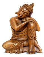 "12"" Wooden Sleeping Buddha Statue Hand Carved Resting Sitting Wood Figurine Art"