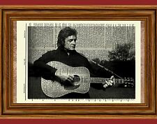 Johnny Cash Dictionary Art Print Poster Picture Vintage Book Guitar Portrait