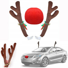 Reindeer Antlers + Red Nose Kit for Car Christmas Festive Atmosphere Decoration