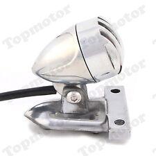 Polishing Silver Finned Grill Bullet Tail Brake License Plate Light Cafe Racer