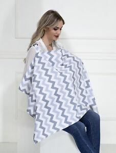 Stilltuch Stillschal + Baby Kissen   unterwegs entspannt Stillen   Grau - Weiss