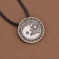 Valknut Viking Necklace Nordic Wolf Pendant Punk Gothic Amulet Jewelry Silver