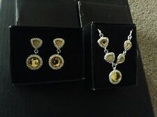 New Avon Legacy Riches Silver-ton Yellow Necklace & Earrings gift set boxed 2PC