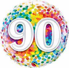 Qualatex Arc-en-ciel Confetti Âge 90 / 90e Anniversaire 18 pouces Ballon