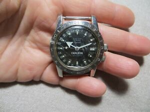 Vintage 60's Glycine Airman Vietnam Pilot ID.Signed Mens Military Watch Running