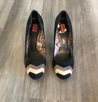 Missoni For Target Black Suede Chevron Pumps Heels Size 10 Shoes Mod