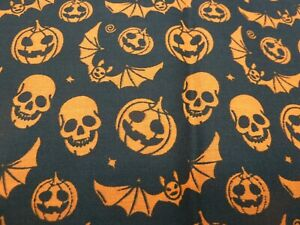 Polycotton Fabric - Bats Skulls and pumpkins on Black FQ