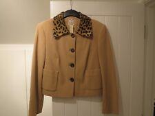 Mondi City Vintage Ladies Jacket / Beige + Leopard Print Excellent Cond Size 38
