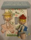 Vtg 1950?Hand Painted IRMI Nursery Plastics Wooden Doll Light Switch Cover Child