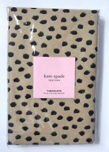"""Kate Spade 70"""" Round FLAMINGO DOT Leopard Cheetah Animal Spotted Tablecloth NEW!"""