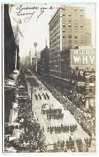 Seattle WA Street View Store Fronts Soldiers Parade Signed Real Photo Postcard