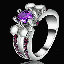 Size 7 Silver Wedding Engagement Ring Amethyst Cluster Cocktail Party Jewelry
