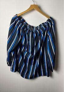 Capsule Women's Top Size 16 Black Blue Striped Bardot Off Shoulder Blouse