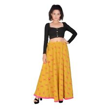 Skirts Indian Long Mustard Summer Wear Casual Ladies Cotton Block Printed Floral