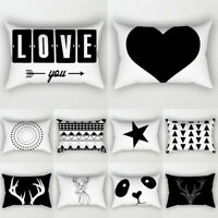 Black&White Geometric Rectangle Cushion Cover Pillow Case Home Sofa Waist Throw