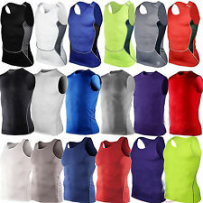 Men's Compression Vest Tank Tops Base Layer Skins Sleeveless Gym Tight Training