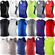 Mens Base Layer Under Skin Tops Sleeveless Gym Running Sports Shirt Vest Tank