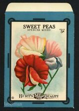 SWEET PEAS, Spencer Mixed, Burt's Antique Seed Packet, Kitchen Decor 122, 5 cent