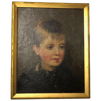 English School Victorian 19th Century Oil Painting Portrait Young Blonde Boy