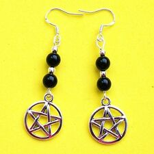 New Earrings Black Agate Beads Witchcraft Pentacle Wiccan Pagan Gemstone LB152