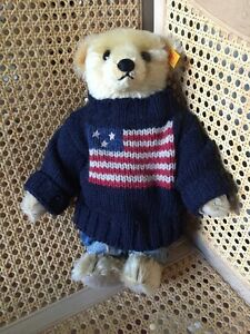 STEIFF RALPH LAUREN POLO AMERICAN FLAG - GROWLER BEAR - Rare