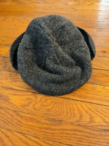 Vintage LL Bean Gray Wool Blend Cabbie Newsboy Driving Cap Hat Made in USA