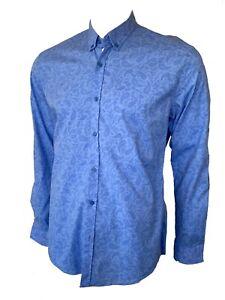 Cipo & Baxx Mens Blue Paisley Cotton Stretch Long Sleeve Shirt Size XXL