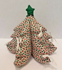Vintage 3-D Stuffed Fabric Christmas Tree Hand Crafted Handmade Decorations Gift
