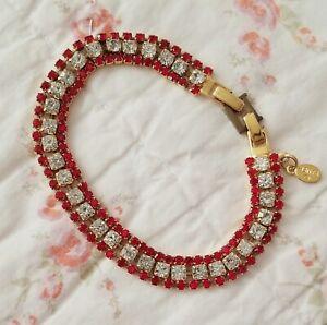 Dorothy Bauer Red Rhinestone Crystal Tennis Bracelet Signed