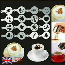 More details for 16 pcs cappuccino coffee barista stencils + stainless steel chocolate shaker uk