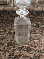 "Vintage Wine Decanter Clear Glass Bottle Liquor Rum Whiskey Top 11"" Tall"