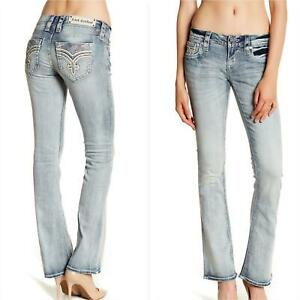 Rock Revival Womens Brunella Bling Boot Cut Jeans Size 27 NEW