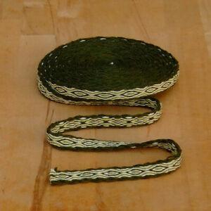 Mittelalter LARP Reenactment Handgewebte Brettchenborte Wolle grün-grün-natur