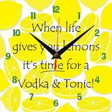 "Handmade ""When life gives you lemons, Vodk!"" novelty fun gift present wall clock"