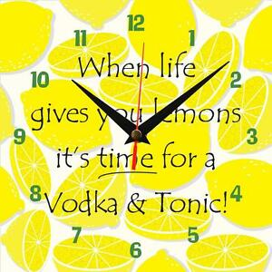 "Handmade ""When life gives you lemons, Vodka"" novelty fun gift present wall clock"